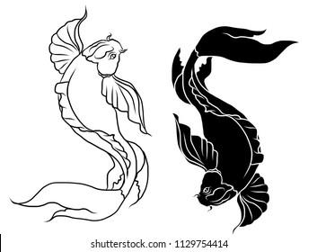 Japanese koi.Hand drawn colorful Koi fish and  Japanese tattoo.doodle art Koi fish for Japanese tattoo