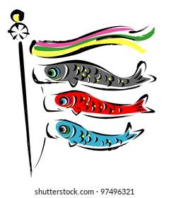 Japanese KOINOBORI, carp streamers , carp banner