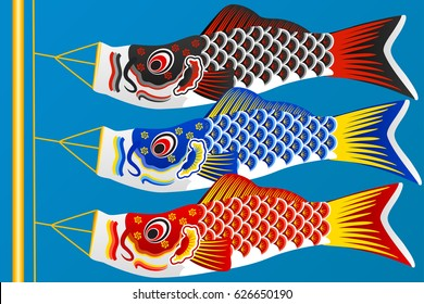 Japanese Koinobori fish carps flags graphic vector
