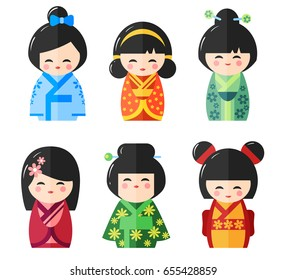 Japanese Kokeshi Dolls icons. Kawaii asian girls wearing kimono isolated on the white background. Flat vector illustration
