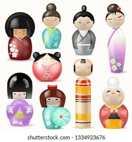 Japanese Kokeshi Dolls vector beautiful girl woman character geisha in female traditional girlie kimono in Japan illustration set of toys man kawaii isolated on white background
