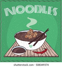 Japanese or Korean dish of brown buckwheat noodles and chicken, known as Naengmyeon or Soba, in white bowl on wooden mat with chopsticks. Nearby soy sauce. Hand drawn. Vector illustration