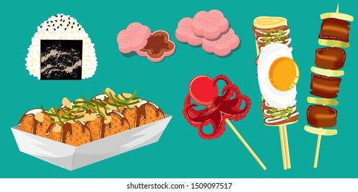japanese and korean street food, japanese traditional food, dessert set, dilicious food vector