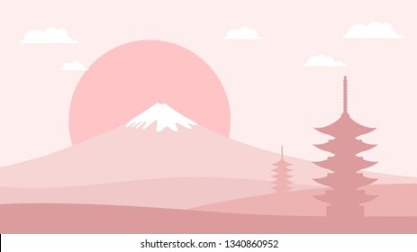 Japanese Landscape Background with Mountain Fuji, sunrise and Pagoda. Travel postcard poster of Japan in light pink color gamma. advertising Tour panorama of world famous landmarks.