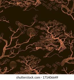 Japanese landscape. Beautiful Asian pattern