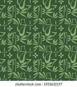 Japanese Leaf Mosaic Vector Seamless Pattern