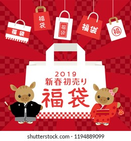 """Japanese lucky bag in 2019 vector illustration. """"New year sale"""" """"Lucky bag"""" are written in Japanese."""