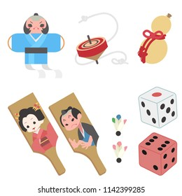 japanese lucky charm and toy illustration set