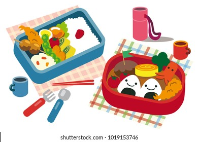 japanese lunch in bento box vector illustration isolated on white