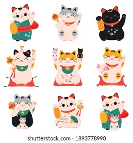 Japanese Maneki Neko Cats Collection, Traditional White Lucky Cat Doll, Symbol of Good Luck and Wealth Cartoon Style Vector Illustration
