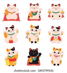 Japanese Maneki Neko Cats Collection, Traditional White Lucky Cat Doll Cartoon Style Vector Illustration