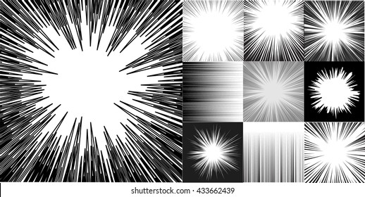 Japanese manga comic book speed horizontal lines background set of ten editable images with radial and horizontal beams. Version part #2