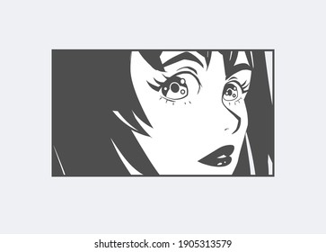 Japanese Manga Comic page concept with Anime female character with big eyes and short hair. Hand drawn trendy vector illustration for pre-made fashion print. Isolated on white background.