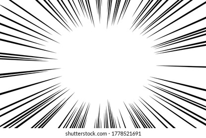 Japanese manga material: Concentrated line, light density and dark line type, full screen space