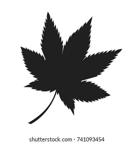 Japanese maple leaf black silhouette autumn fallen object vector in realistic design isolated on white. Fall foliage element, dark leafage vector