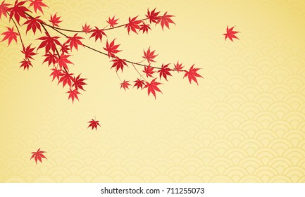 Japanese maple leaves background vector illustration. Beautiful red maple leaves on gold Japanese pattern background with copy space.