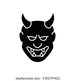 Japanese mask black glyph icon. Hannya face. Evil mythological creature from japan folklore. Noh theater attribute. Asian souvenir. Silhouette symbol on white space. Vector isolated illustration