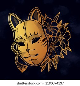 Japanese mask fox with flowers. Isolated vector art. Print on poster, card, sticker, T-shirt.