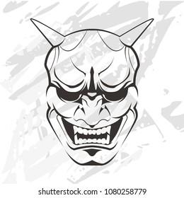 Japanese mask on a light background. Gray background. Kabuki mask outlines