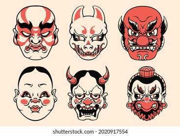 Japanese mask vector art set