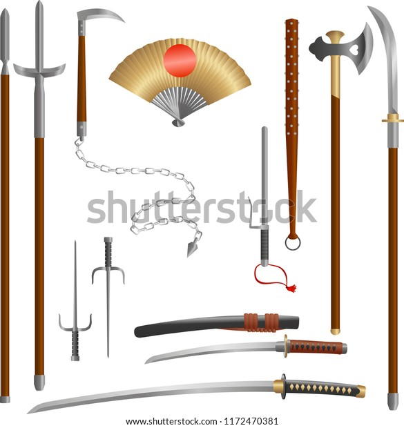Japanese Medieval Samurai Weapon Historical Blades Stock