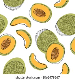Japanese melons sliced seamless pattern, orange melon or cantaloupe melon isolated on white background. Vector illustration