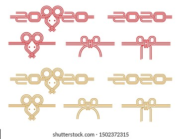 Japanese mizuhiki (traditional  decorative cord made from twisted paper) illustration set for new year greeting card (2020) / mouse,rat ,2020