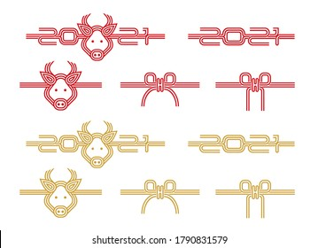 Japanese mizuhiki (traditional  decorative cord made from twisted paper) illustration set for new year greeting card (2021) / cow,ox,2021