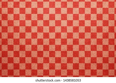 Japanese natural traditional red white color checkered pattern paper texture abstract
