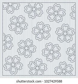 Japanese needlework. Sakura flowers. Sashiko frame for handiwork. Spring cherry backdrop. Floral background. Quilting motif. Pattern fills. For decoration or printing on fabric.