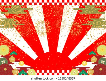 Japanese New Year background  rising sun and flowers fireworks