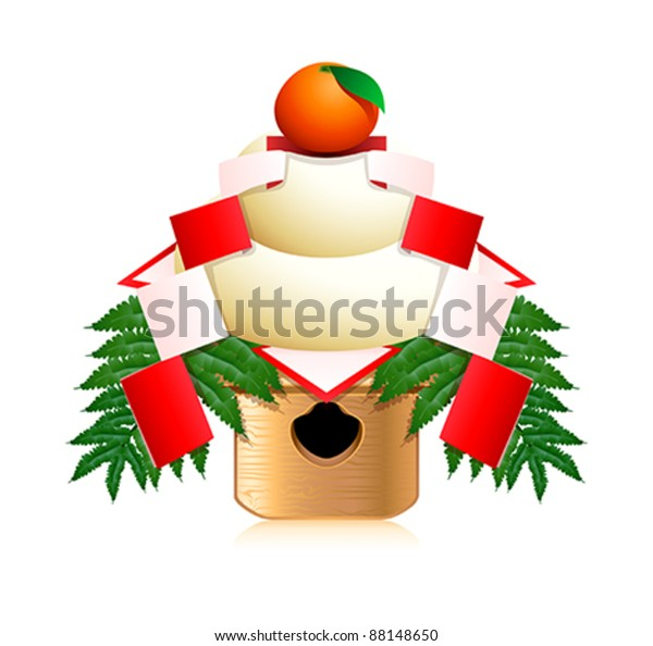 Japanese New Year Decoration Kagami Mochi Stock Vector ...