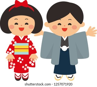 Japanese new year elements.Kids wearing kimonos.The first shrine visit of the new year.Flat design,Vector illustration,Cartoon character.