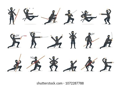 Japanese Ninja Assassin In Full Black Costume Performing Ninjitsu Martial Arts Postures With Different Weapons Set Of Illustrations.