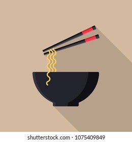 Japanese noodles flat icon with long shadow isolated on beige background. Simple noodles in flat style. Japanese cuisine vector illustration. Bowl of noodles with a pair of chopsticks.