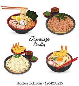 Japanese noodles: ramen, udon, soba and somen.