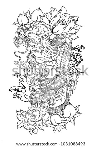 Japanese Old Dragon Tattoo Arm Hand Drawn Stock Vector Royalty Free