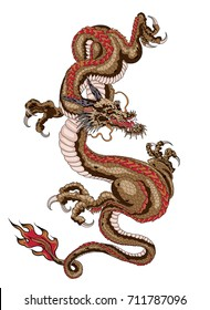 Japanese old dragon for tattoo. Traditional Asian tattoo the old dragon vector.Animal of Budhi.