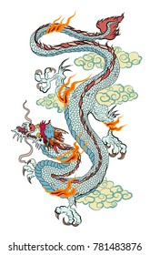 Japanese old dragon for tattoo. Traditional Asian tattoo the old dragon vector.Chinese dragon and sketch for tattoo