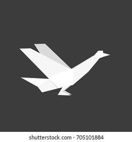 Japanese origami paper dove bird. Vector icon illustration