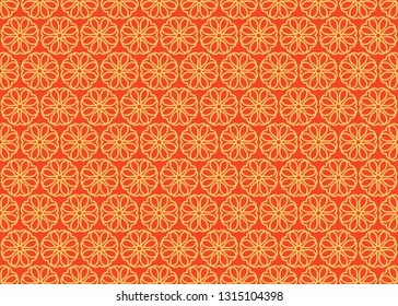 Japanese ornament with sakura flowers vector seamless pattern. Premium vintage background. Motif for packaging, cosmetic, wine, chocolate, fabric design. Ornament Gold and red color.