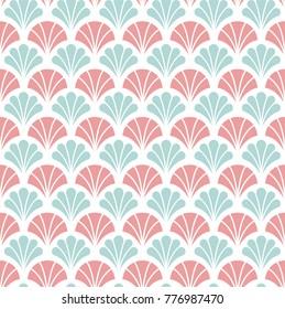 Japanese Ornamental Vector Background. Art Deco Floral Seamless Pattern. Geometric decorative texture.