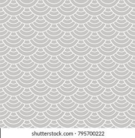Japanese Ornamental Vector Background. Art Deco Circles Seamless Pattern. Geometric decorative texture.
