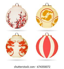 Japanese paper lantern set isolated on white or vector chinese hanging lanterns for happy mid-autumn festival or chinese new year