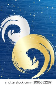 Japanese paper style background Gold and silver spirals