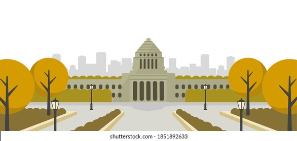 Japanese parliament building vector banner illustration / autumn
