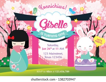 Japanese Party Birthday Invitation with cute Japanese Kokeshi Doll and bunny. Kawaii asian invitation design