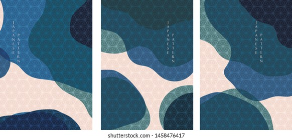 Japanese pattern with abstract template vector. Geometric background.