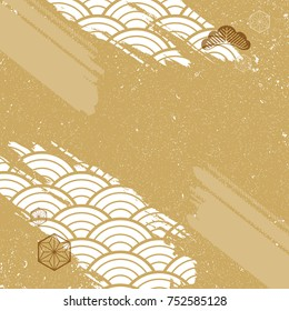 Japanese pattern background. Gold collage design vector with decoration elements.