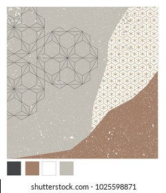 Japanese pattern background vector. Earth tone collage graphic with grunge texture.